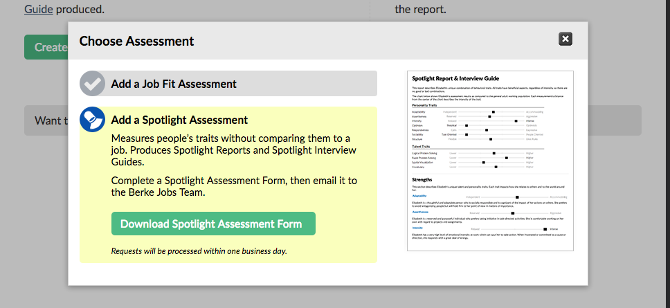 Choosing a Spotlight Assessment