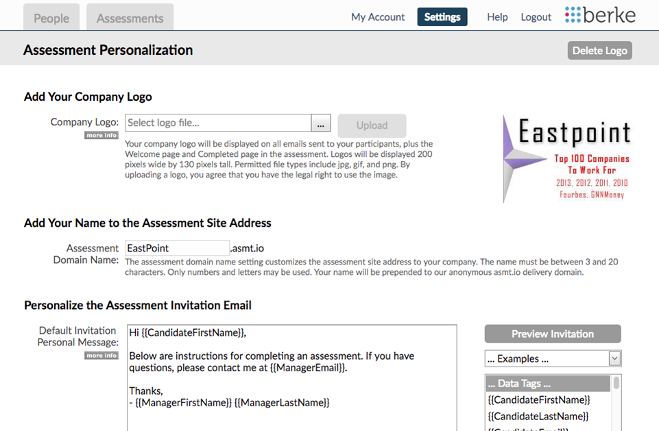 screenshot of the personalization process