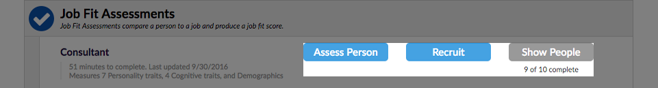 Highlight of the three action buttons for each assessment