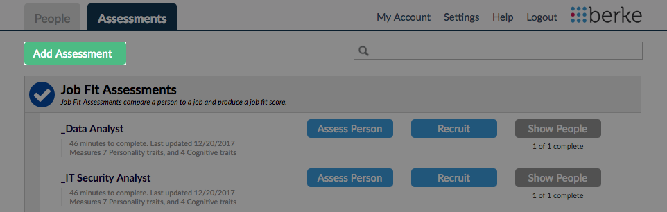 Screenshot of Add Assessment button