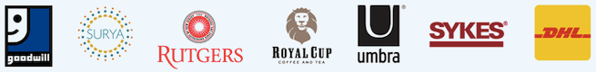 logos for Goodwill, Surya, Rudgers, Royal Cup, Umbra, Sykes, and DHL