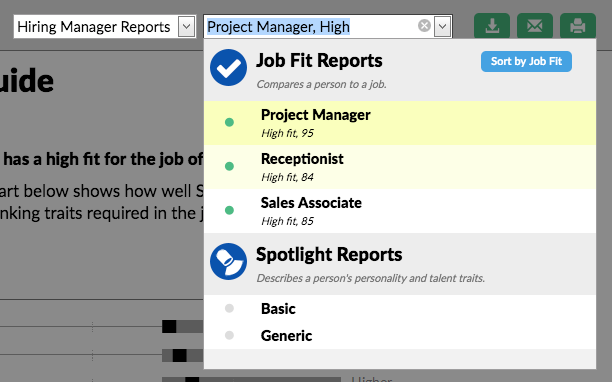 screenshot of the report changing dropdown options