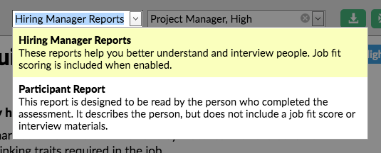 screenshot of the hiring manager report options