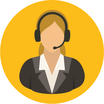 A woman with a headset on