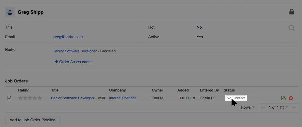 screenshot of a candidate's job order status