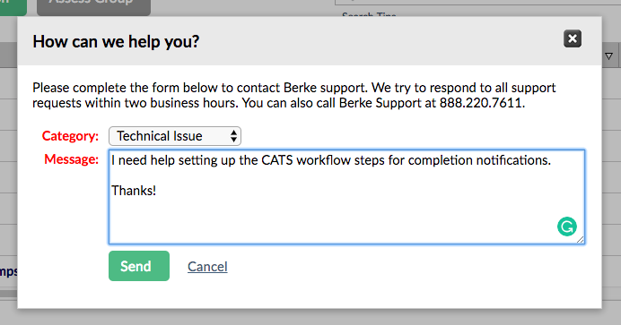 screenshot of the Berke support contact popup