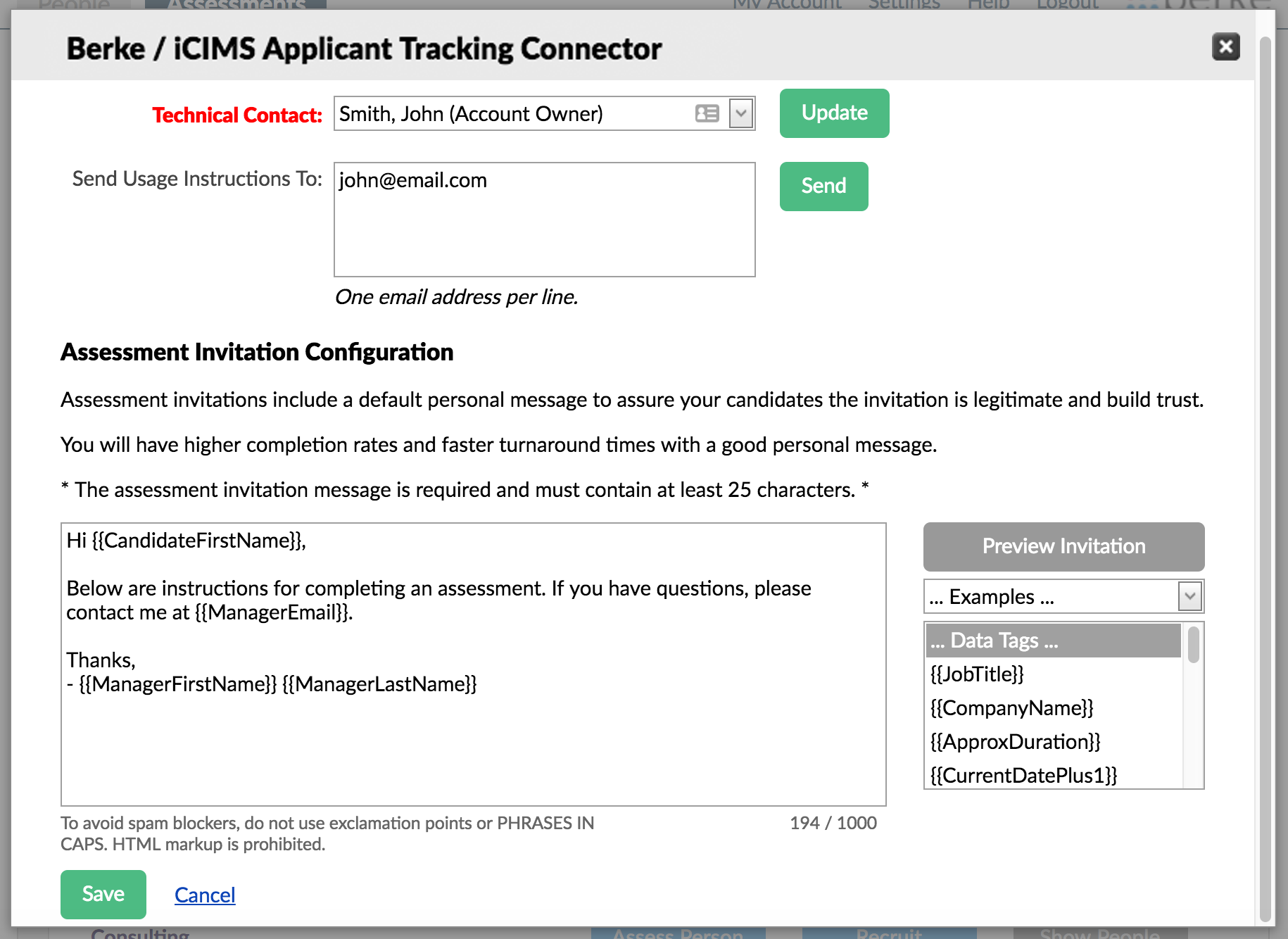 screenshot of the Berke / iCIMS Connector advanced settings page