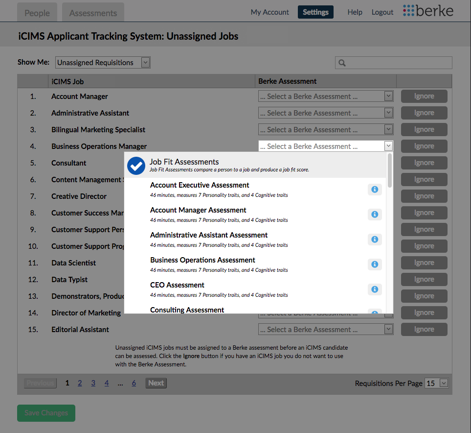 screenshot of the job assignment page
