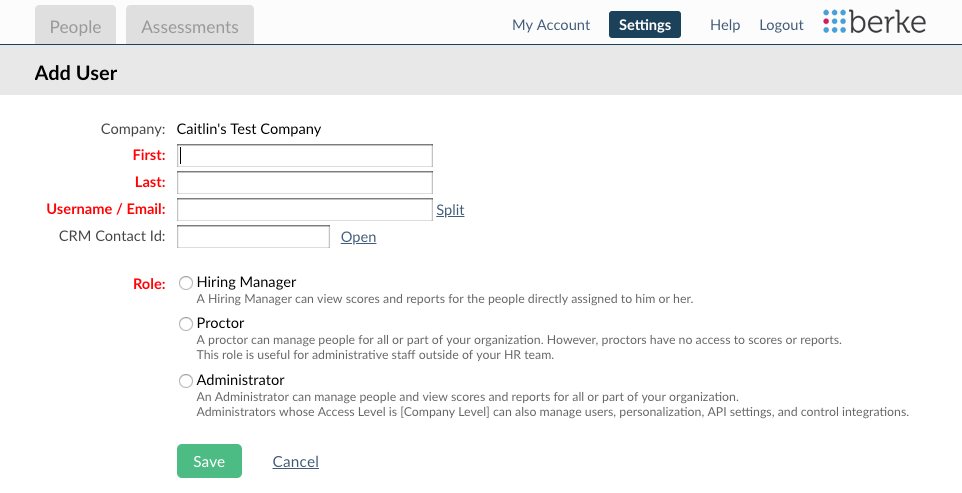 screenshot of the add user form