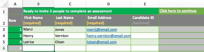 screenshot of the group invite spreadsheet