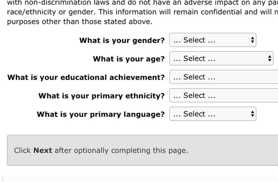 screenshot of demographic survey