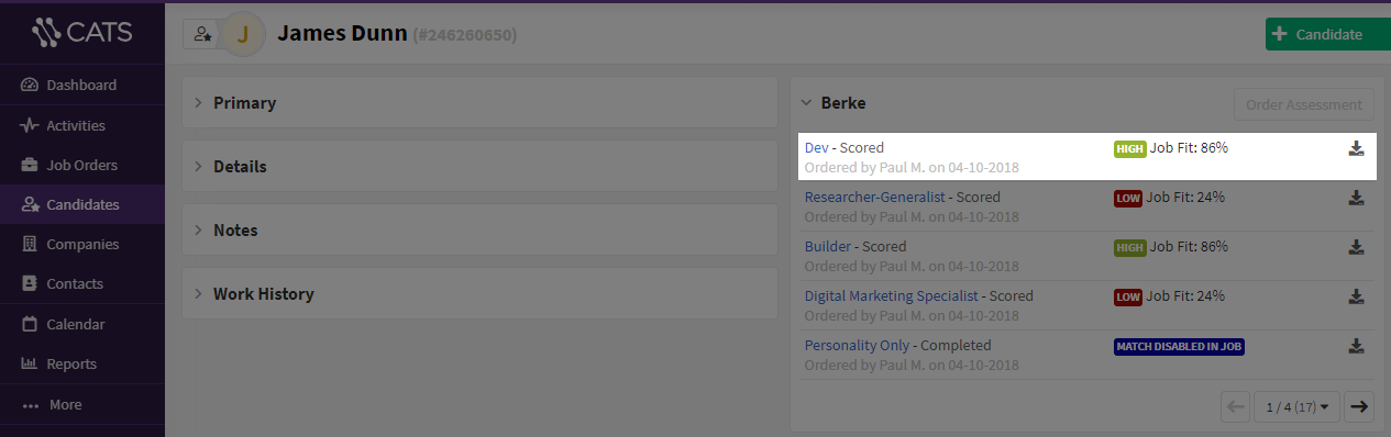 screenshot of a berke score inside a candidate profile