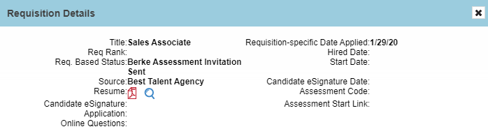 screenshot of the updates section of a Candidate profile