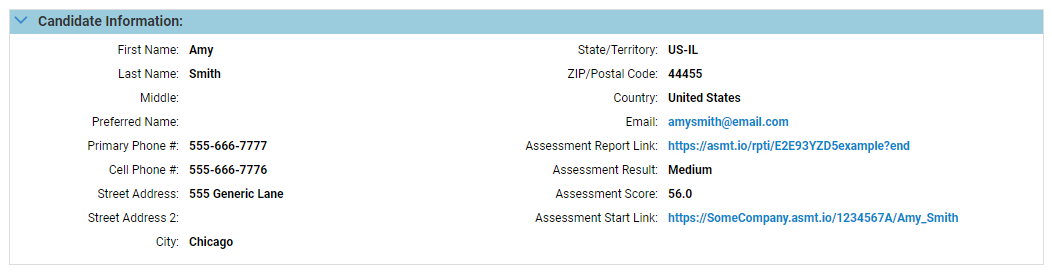 screenshot of the Taleo candidate's profile with updated Berke scores