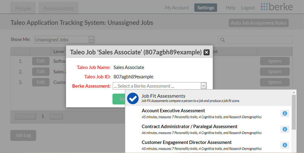 screenshot of the requisition assignment page